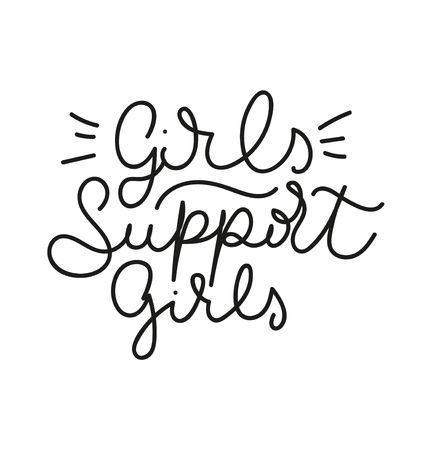 Girls support girls feminist lettering quote. Cute feminine lettering isolated on white background. Vector illustration Reklamní fotografie - 123026505
