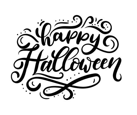 Happy halloween greeting card with flourishes. Lettering inscription