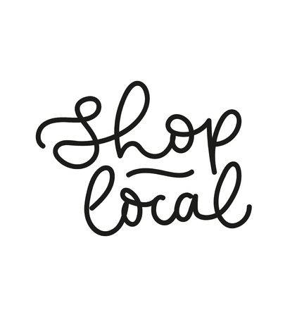 Shop local vector label. Support local business concept. Vector illustration