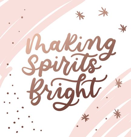 Making spirits bright Christmas lettering card for prints, textile, greeting cards. Christmas greeting card design for parents. Vector illustration Reklamní fotografie - 124682858