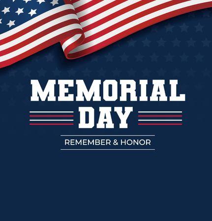 Happy Memorial Day background. National american holiday illustration. Vector Memorial day greeting card Reklamní fotografie - 123026508