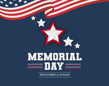 Memorial day greeting card. Remember and honor Memorial day background with USA flag and stars. Vector illustration Reklamní fotografie - 124682859