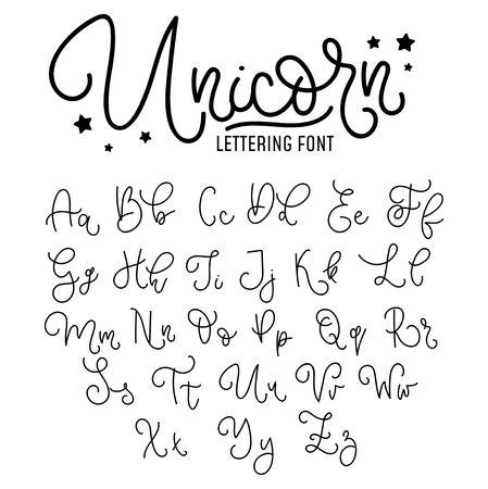 Unicorn hand drawn font design. Cute alphabet with flourish details. Vector unicorn alphabet.
