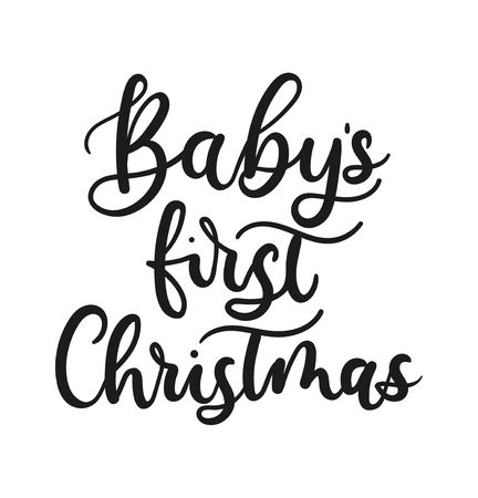 Babys first Christmas lettering card for prints, textile, greeting cards. Christmas greeting card design for parents. Vector illustration Ilustrace