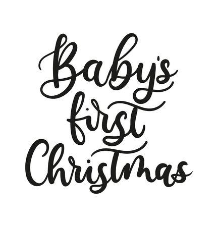 Baby's first Christmas lettering card for prints, textile, greeting cards. Christmas greeting card design for parents. Vector illustration Reklamní fotografie - 123026393