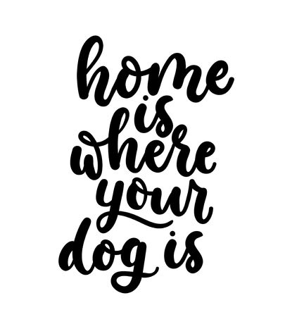 Home is where your dog is. Cute design with lettering. Inspirational poster, print design with calligraphy. Vector lettering card. Reklamní fotografie - 123026400