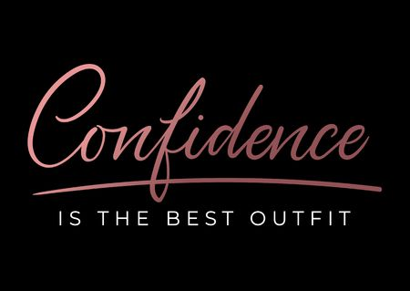 Confidence is the best outfit inspirational lettering card. Cute and kind lettering inscription for prints, textile etc. Vector illustration Reklamní fotografie - 123026410