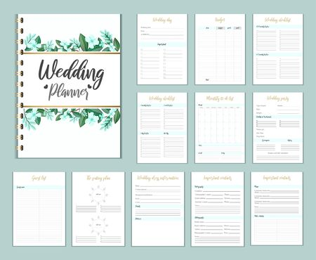 Wedding planer organizer with checklist, wish list, party time etc. Floral diary design for wedding organisation. Vector wedding planer. Ilustrace