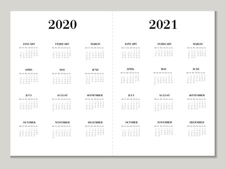 Calendar 2020 2021 year. Vector calendar template in black and grey colors. Week starts on Monday. Ilustração