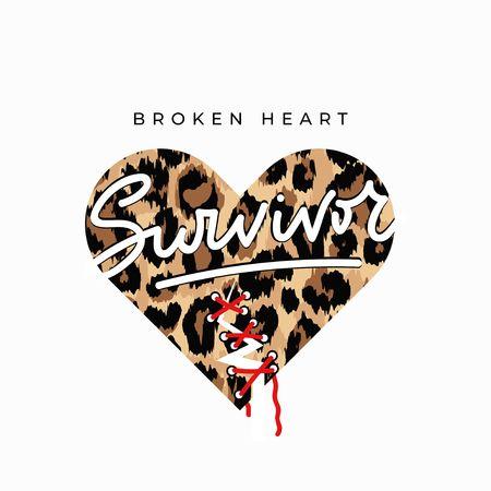 Broken heart survivor fashion print with sewed up broken heart and leopard print. Inspirational love card. Vector illustration Reklamní fotografie - 123079294