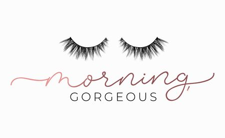 Morning gorgeous poster or print design with lettering and lashes. Luxury design for inspirational posters or greeting cards. Vector lettering card. Reklamní fotografie - 123079295