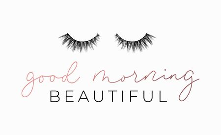 Good Morning beautiful poster or print design with lettering and lashes. Luxury design for inspirational posters or greeting cards. Vector lettering card. Reklamní fotografie - 123079297