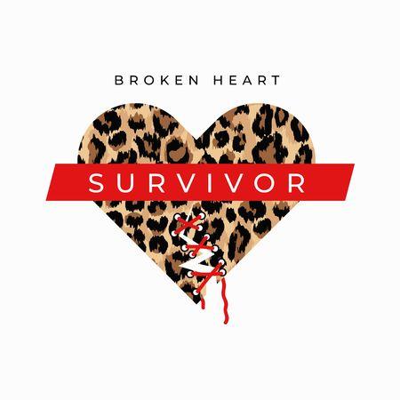 Broken heart survivor fashion print with sewed up broken heart and leopard print. Inspirational love card. Vector illustration Reklamní fotografie - 123079298