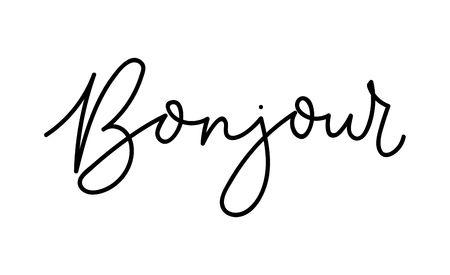 Bonjour - Hello lettering card in french. Inspirational inscription in french. Vector lettering card Reklamní fotografie - 123079300