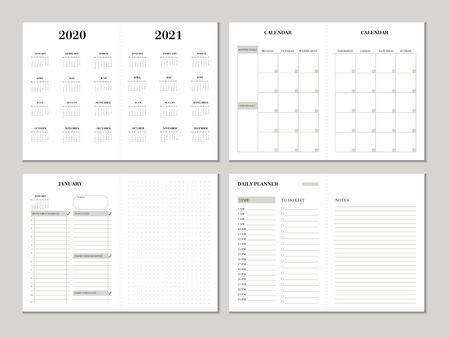 Modello di progettazione del pianificatore per l'anno 2020 2021. Progettazione di pianificatori settimanali e mensili con lista di controllo, lista delle cose da fare e carta punteggiata. Concetto di business planner vettoriale stampabile. Vettoriali
