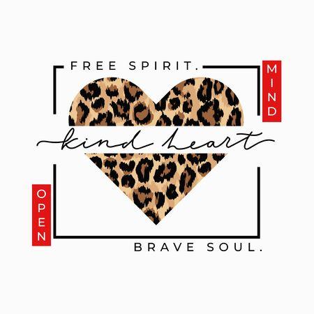Espíritu libre alma valiente mente abierta corazón amable estampado de moda con corazón de leopardo. Tarjeta de amor inspiradora. Ilustración vectorial