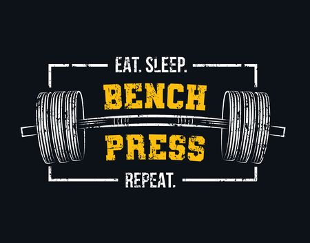 Coma dormir press de banca repetir cita de gimnasio motivacional con barra y efecto grunge. Diseño inspirador de levantamiento de pesas y culturismo. Ilustración de vector de motivación deportiva