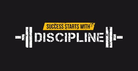 Success starts with discipline motivational gym quote with barbell and grunge effect. Sport motivation. Gym vector design template.