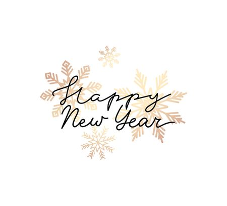 Happy new year lettering greeting card with gold snowflakes isolated on white background. Line style luxury design template for invitations, prints, greeting cards. Vector New Year minimalism illustration