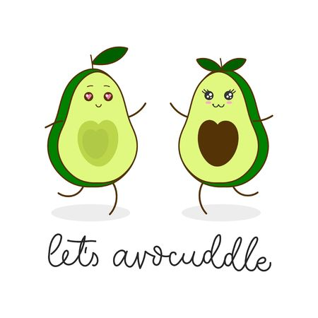 Let's avocuddle lettering card with kawaii avocado characters isolated on white background. Cute avocado hugs inspirational greeting card, print, poster etc. Vector kawaii food illustration Reklamní fotografie - 123026387