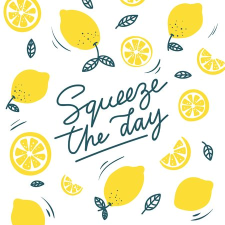 Squeeze the day inspirational card with doodles lemons, leaves isolated on white background. Colorful illustration for greeting cards or prints. Vector lemon illustration