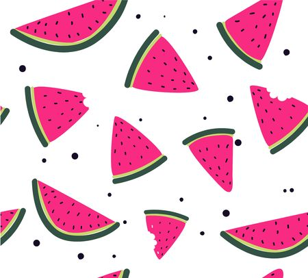 Colorful watermelon seamless pattern. Hand drawn slices of watermelon isolated on white background. Summer vector illustration