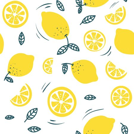 Trendy summer pattern with lemons and white background. Hand drawn lemons design for textile, cases, prints etc. Vector illustration