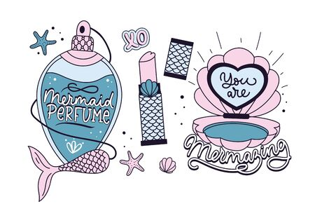 Mermaid quotes and prints set. Mermaid soul. Mermaid perfume. Mermaid off duty. You are mermazing. Inspirational prints and quotes with mermaids.