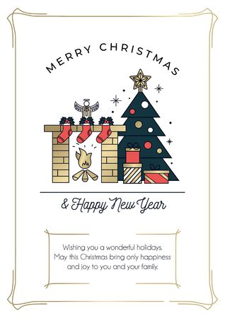 Merry Christmas and happy New Year greeting card with linear Christmas tree, presents and fireplace. Minimalistic greeting card with seasons greetings objects.Vector illustration