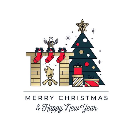 Merry Christmas and happy New Year greeting card with linear Christmas tree, presents and fireplace. Minimalistic greeting card with holydays objects in line art style.Vector illustration Ilustrace