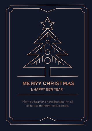 Merry Christmas greeting card with rose gold lines and dark background. Christmas tree with balls and linear frame luxury card. Vector illustration