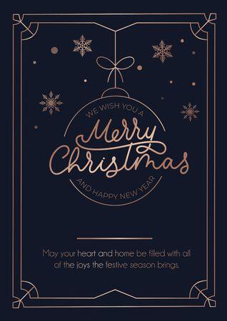 Grußkarte der frohen Weihnachten mit roségoldenen Linien und dunklem Hintergrund. Weihnachtskugel, Schneeflocken und Schriftzug Luxuskarte. Vektor-Illustration Vektorgrafik