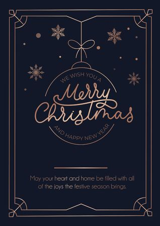 Merry Christmas greeting card with rose gold lines and dark background. Christmas ball, snowflakes and lettering luxury card. Vector illustration