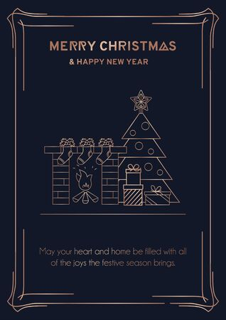 Merry Christmas greeting card with rose gold linear Christmas tree, fireplace, socks and presents. Line art New Year greeting card or invitation. Vector illustration Illusztráció