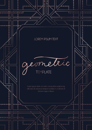 Geometric rose gold design template vector illustration. Colorful lines on layout, flayer or invitation card with deep black background flat style concept. Place for text Standard-Bild - 129159470