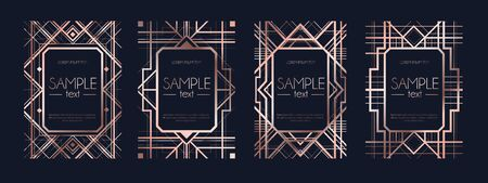 Set of frames with navy blue color vector illustration. Collection of invitation or flayer cards with dark texture and rose gold geometric lines flat style concept. Empty place for text Ilustrace