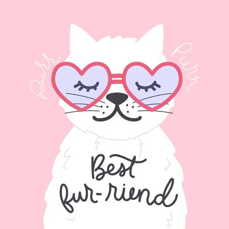Best furriend cute card vector illustration. Colorful template with white cat in heart-shaped glasses and inspirational lettering for design print t-shirt or postcard. Isolated on pink