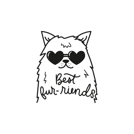 Best furriends funny card vector illustration. Template with cute cat in heart-shaped glasses and inspirational lettering in black color for design print t-shirt or postcard. Isolated on white Illusztráció