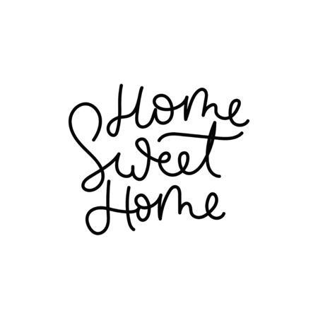 Home sweet home cute inspirational lettering vector illustration. Calligraphic quote with inscription in black color on white background for housewarming posters, greeting cards, home decorations