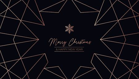 Merry Christmas luxury template design card vector illustration. Winter greeting postcard Happy New Year decorated by modern geometric lines. Poster with holiday wishes