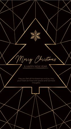 Merry Christmas luxury template for social networks or greeting card with linear tree vector illustration. New Year poster with fir-tree and snowflake, geometric golden lines