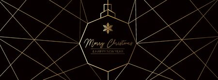 Merry Christmas and Happy New Year winter card vector illustration. Black and gold banner with greeting and geometric lines and snowflake symbol. Holiday card with wishes and snow sign Ilustracja