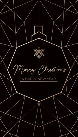 Merry Christmas and Happy New Year luxury template vector illustration. Festive greeting card decorated with Xmas ball and geometric lines. Modern winter holiday poster with wishes Ilustracja