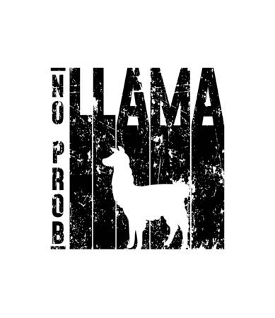 Llama no prob poster with grunge effect and animal silhouette vector illustration. Alpaca symbol on geometrical shape for prints. Wildlife character on black icon Ilustracja