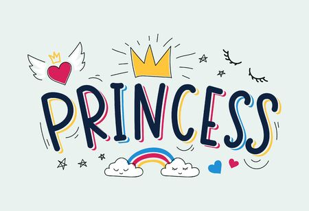 Pretty princess inspirational card quote banner vector illustration. Girly childhood room carefree design with rainbow, heart with wings and crown. Children birthday invitation card concept
