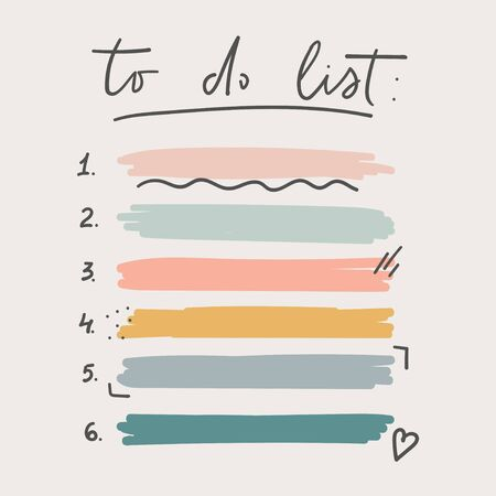 Multicolored to do list schedule template vector illustration. Different grunge brush strokes. Variety abstract paint stripes and distressed banners. Isolated on pastel tones Ilustracja