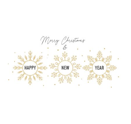Winter holidays greeting card with snowflakes vector illustration. Festive postcard with lettering Merry Christmas and three golden flakes of snow with inscription Happy New Year inside it
