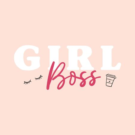 Girl boss lettering card with cup and eyelash symbol vector illustration. Postcard inspirational feminist phrase on white background. Poster with feminine print