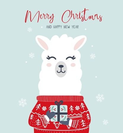 Merry Christmas and Happy New Year greeting card with llama vector illustration. Winter holiday postcard decorated by Xmas animal in sweater holding present box, snowflakes on blue background Ilustracja