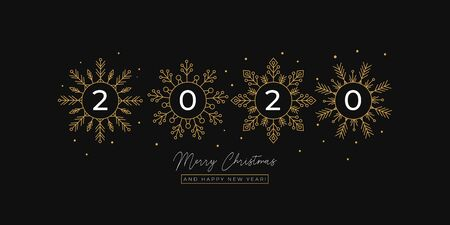 Festive linear greeting card with flakes of snow vector illustration. Merry Christmas and Happy New Year 2020 postcard with golden snowflakes. Xmas holidays concept Ilustracja